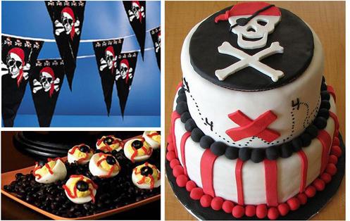 Tema de pirata en fiesta de cumpleaños para niños