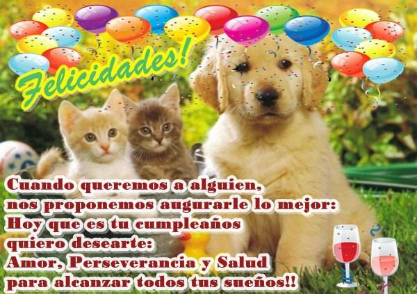 Dedicatoria de feliz cumpleaños animales
