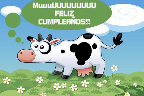 Postal de feliz cumpleaños vaca
